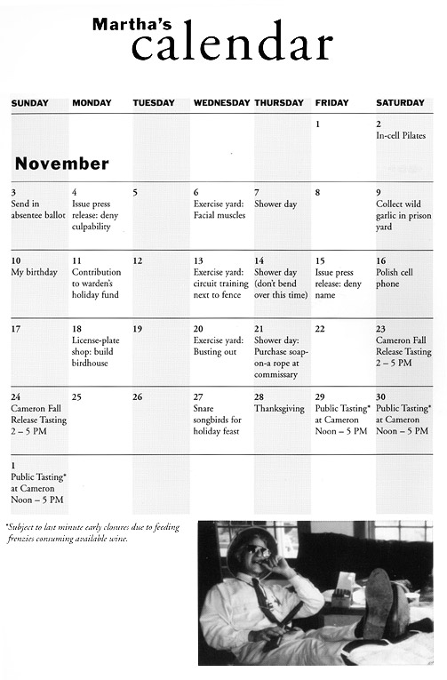 Martha's Calendar